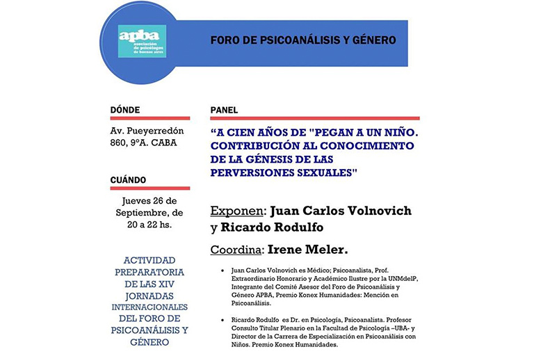 Foro de Psicoanálisis y Género - Entrada libre - Rodulfos